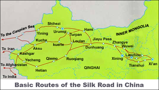 Map of the ancient Silk Road, © asiaculturaltravel.co.uk