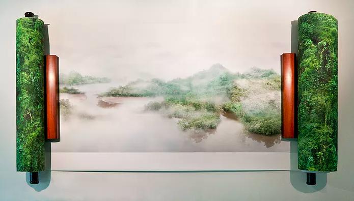 Zen Teh, Singapore Landscape Painting, 2012, inkjet print on archival Japanese handmade paper, 60 x 480 cm