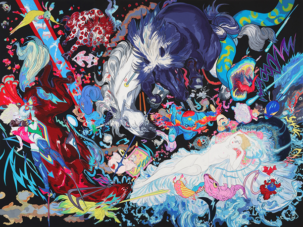 Amano Yoshitaka, When Sleeping Beauty Wakes, 2018, automotive paint, acrylic, and aluminium panel, 240 x 320 x 10 cm, © AMANO Yoshitaka, courtesy of Mizuma Art Gallery