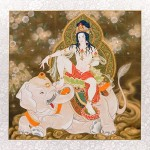 Kimura Ryoko, Fugen Bodhisattva, 2018, Japanese pigments and gold leaf on silk, 104 × 104 cm, © Kimura Ryoko, courtesy of Mizuma Gallery