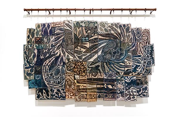 Kobayashi Satoshi, Untitled, 2018, acrylic ink and acrylic paint on low relief wood board, 140 x 225 cm, © Kobayashi Satoshi, courtesy of Mizuma Gallery