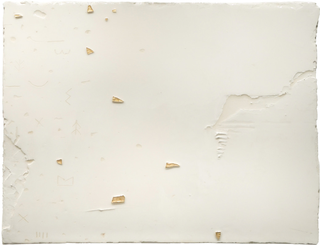 Ben Loong, Glyph 5, 2020, resinated gypsum plaster and gold leaf on wood, 52 × 68 × 4.5 cm